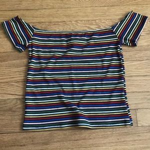 URBAN OUTFITTERS OFF THE SHOULDER STRIPED TOP